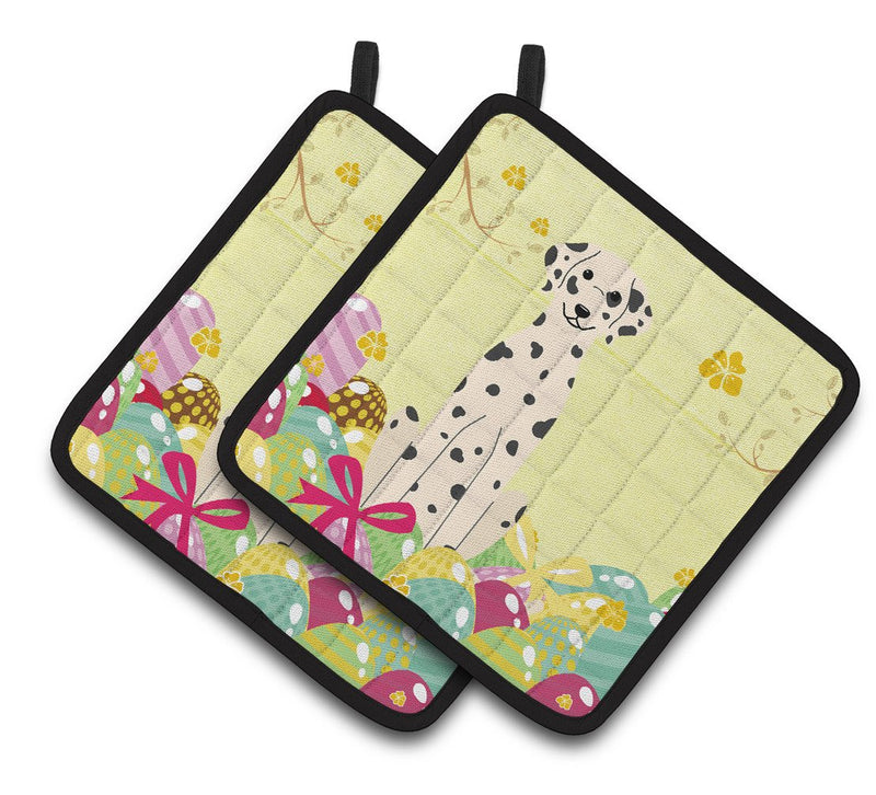 Buy this Easter Eggs Dalmatian Pair of Pot Holders BB6097PTHD
