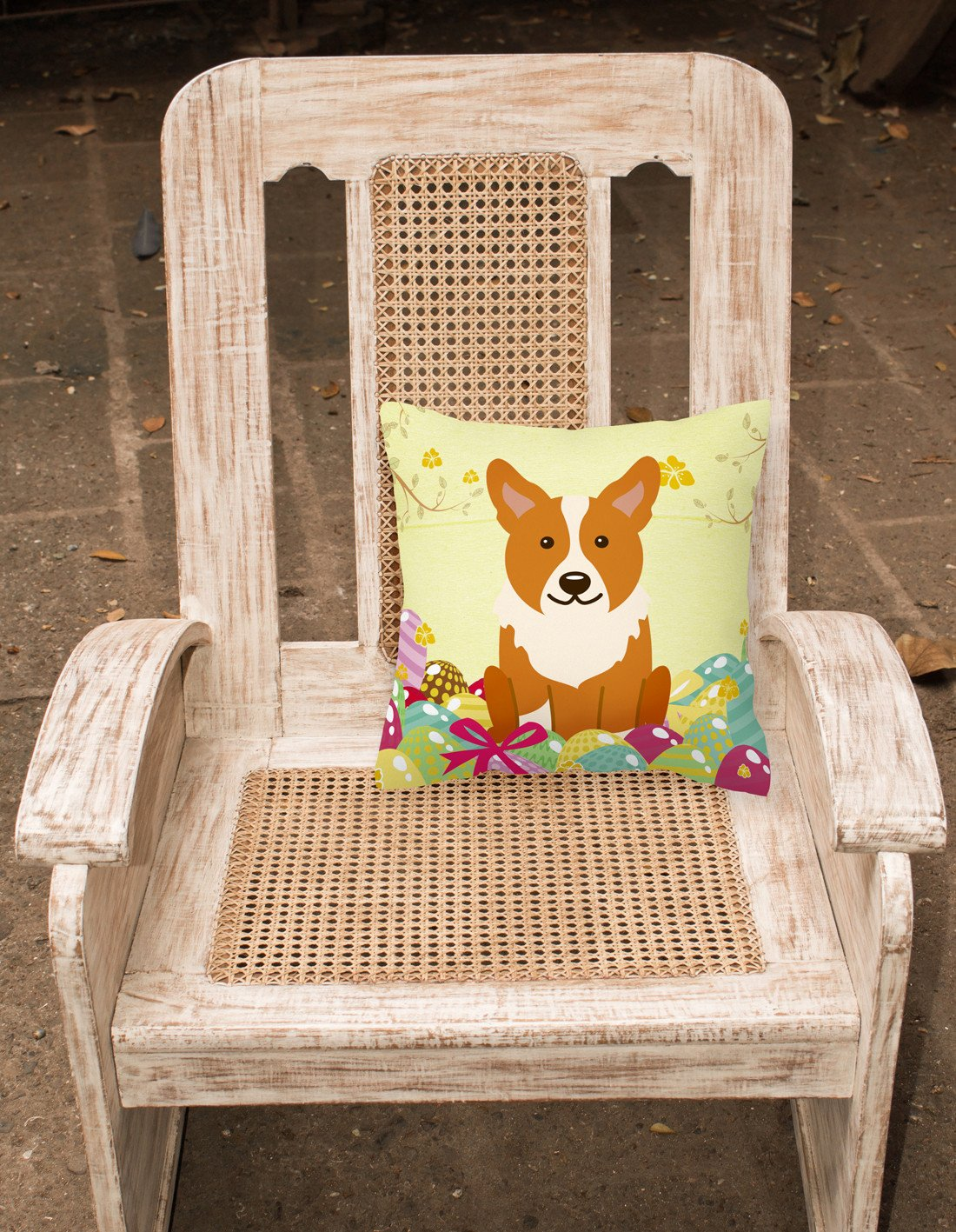 Easter Eggs Corgi Fabric Decorative Pillow BB6100PW1818 by Caroline's Treasures
