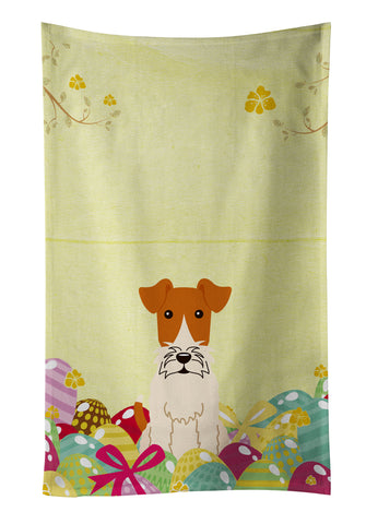 Buy this Easter Eggs Wire Fox Terrier Kitchen Towel BB6101KTWL
