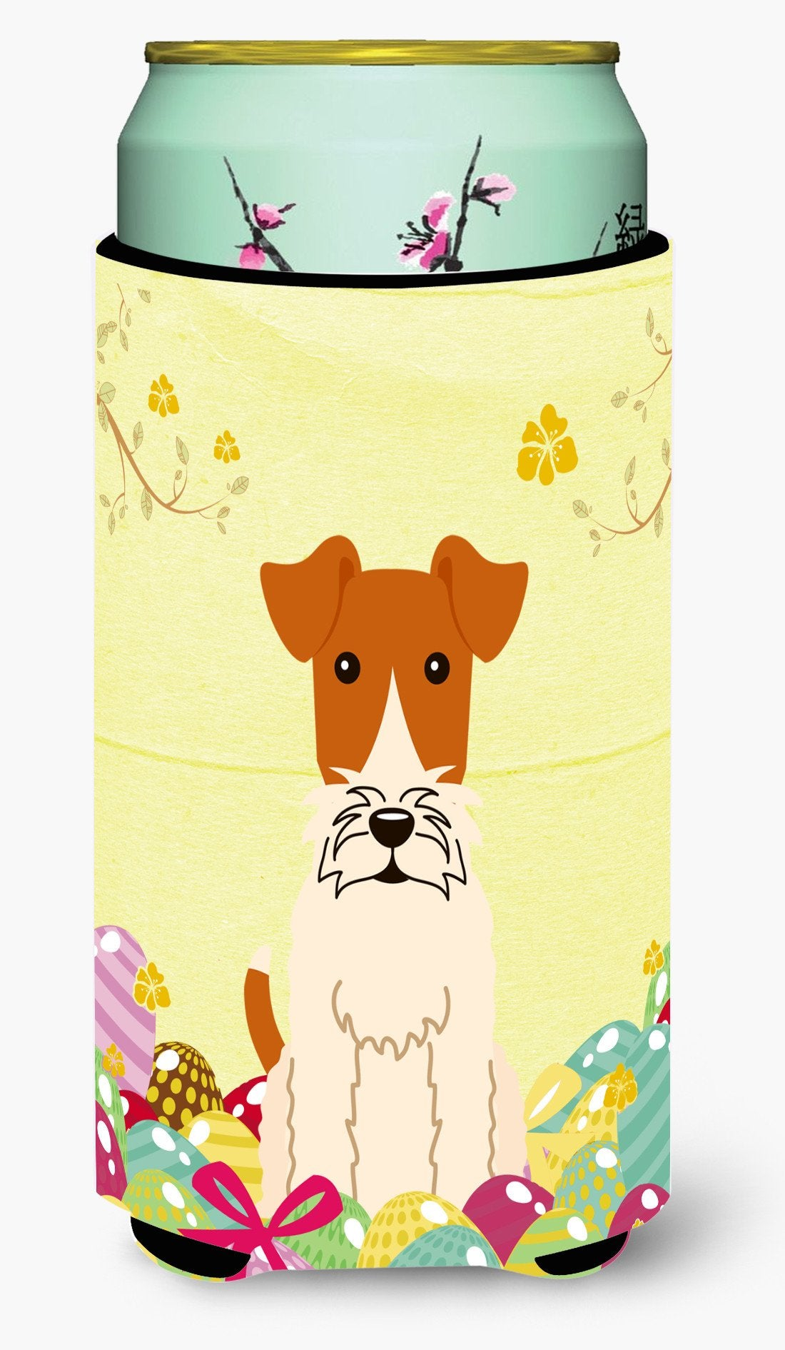 Easter Eggs Wire Fox Terrier Tall Boy Beverage Insulator Hugger BB6101TBC by Caroline's Treasures