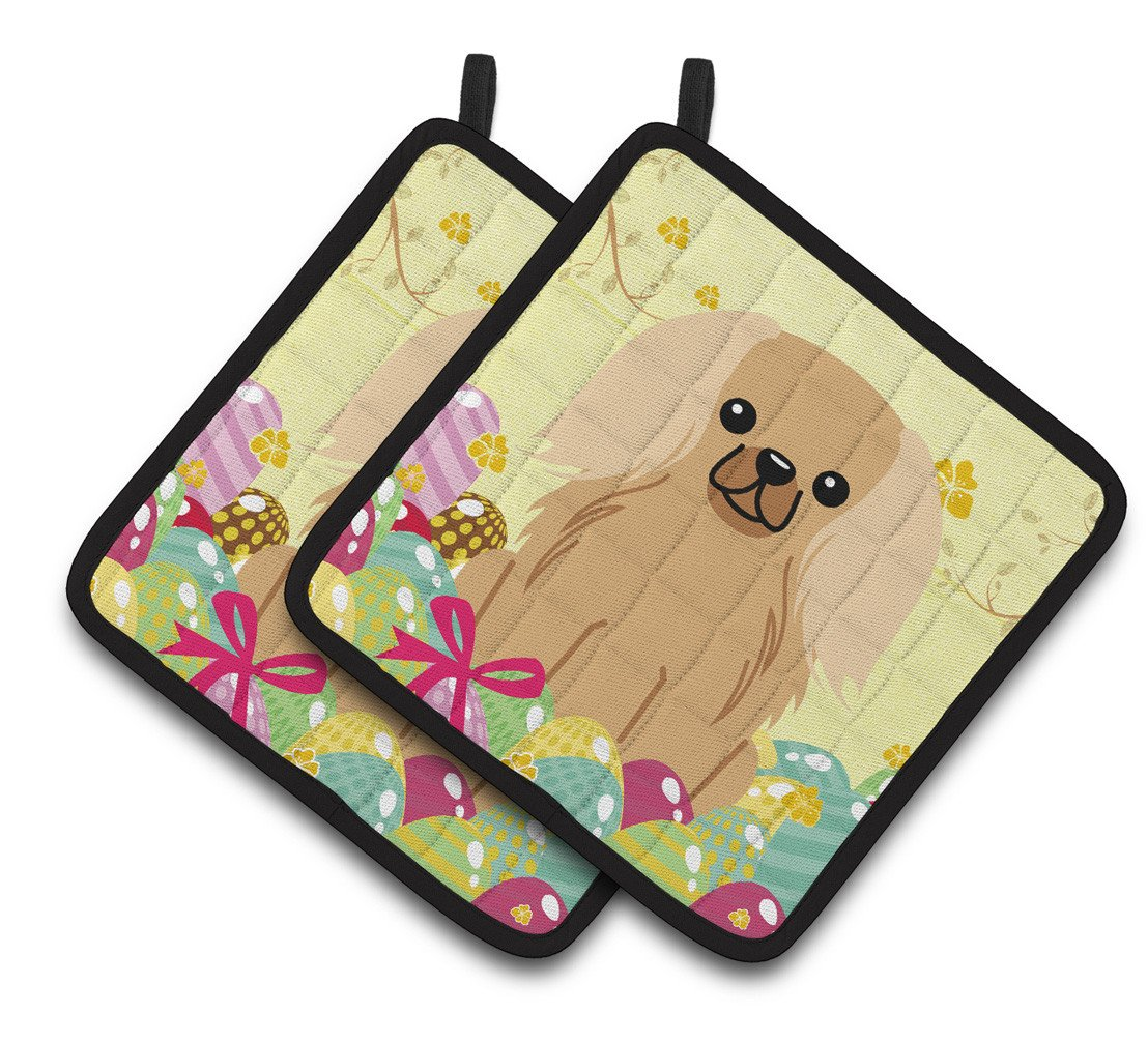 Easter Eggs Pekingnese Fawn Sable Pair of Pot Holders BB6104PTHD by Caroline's Treasures
