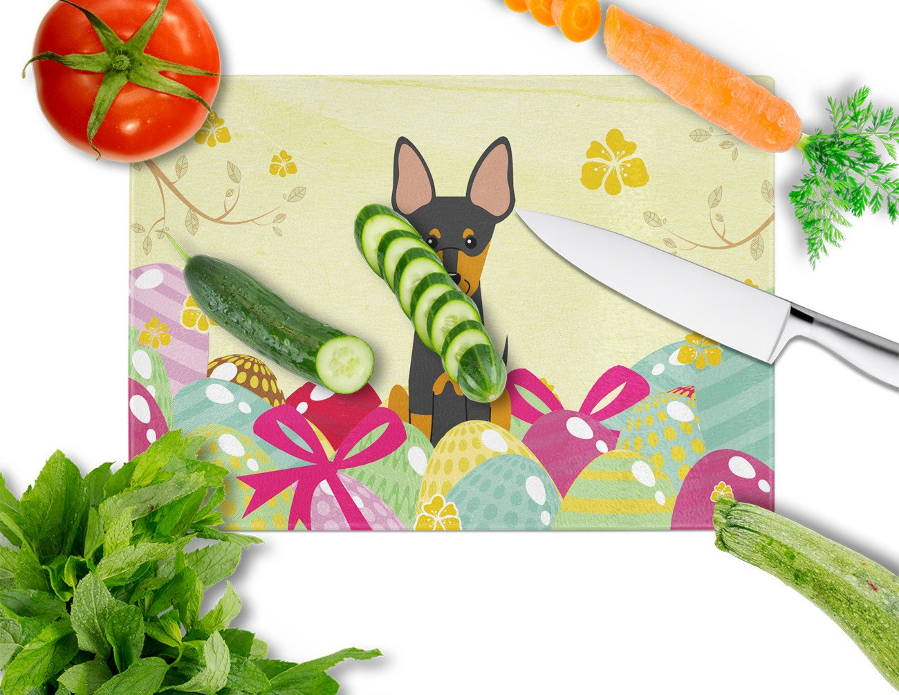 Easter Eggs English Toy Terrier Glass Cutting Board Large BB6109LCB by Caroline's Treasures