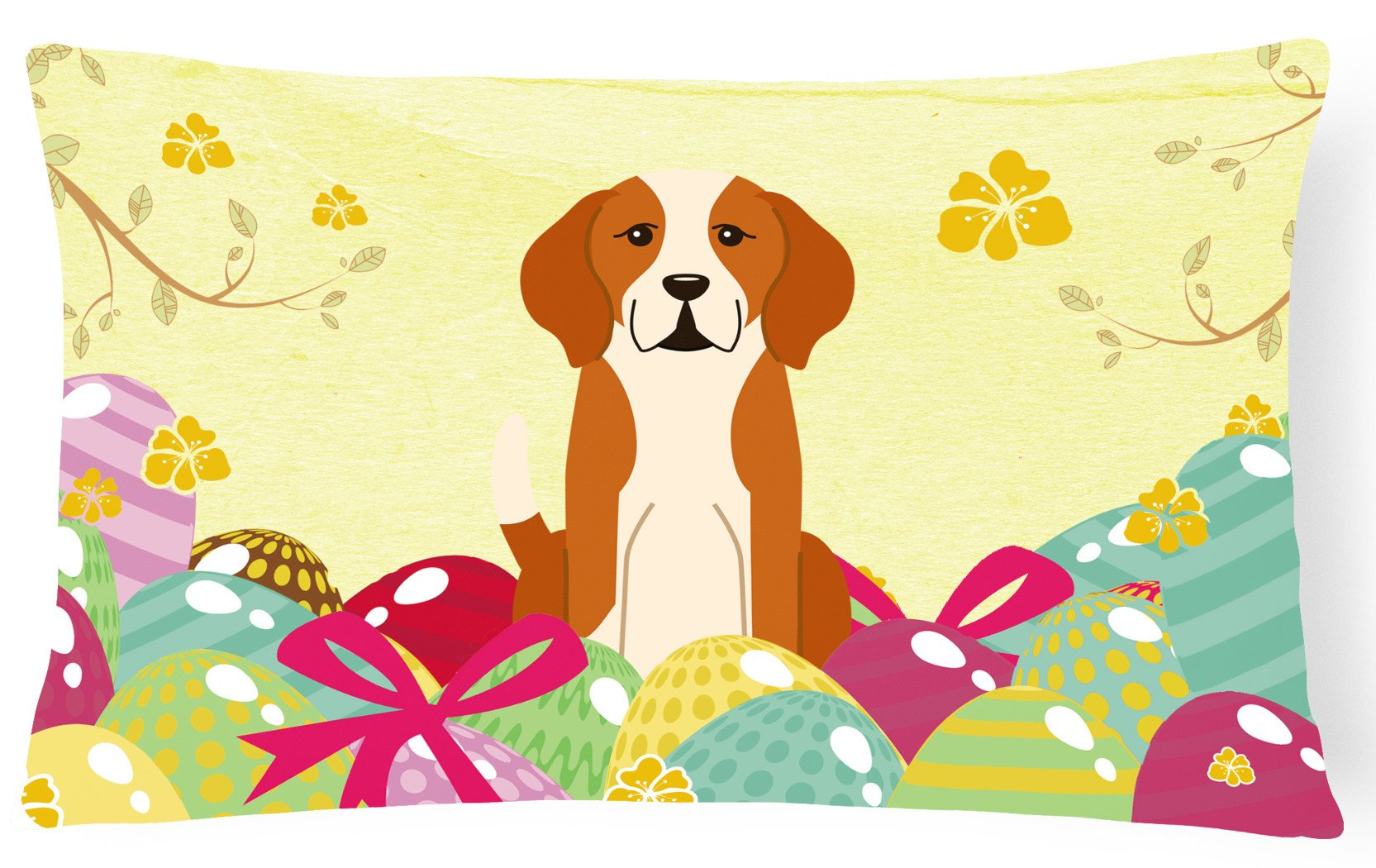 Easter Eggs English Foxhound Canvas Fabric Decorative Pillow BB6110PW1216 by Caroline's Treasures