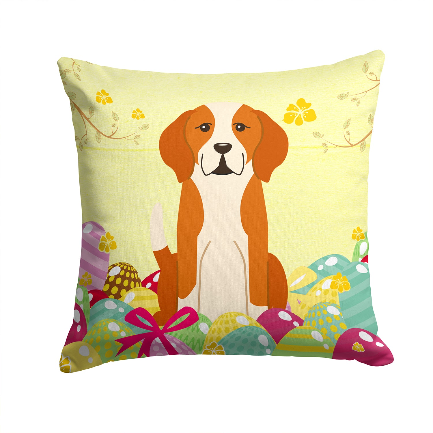Easter Eggs English Foxhound Fabric Decorative Pillow BB6110PW1414 by Caroline's Treasures