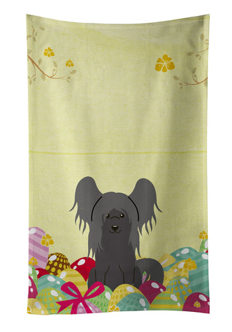 Buy this Easter Eggs Chinese Crested Black Kitchen Towel BB6112KTWL