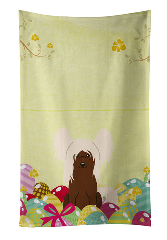 Buy this Easter Eggs Chinese Crested Cream Kitchen Towel BB6113KTWL