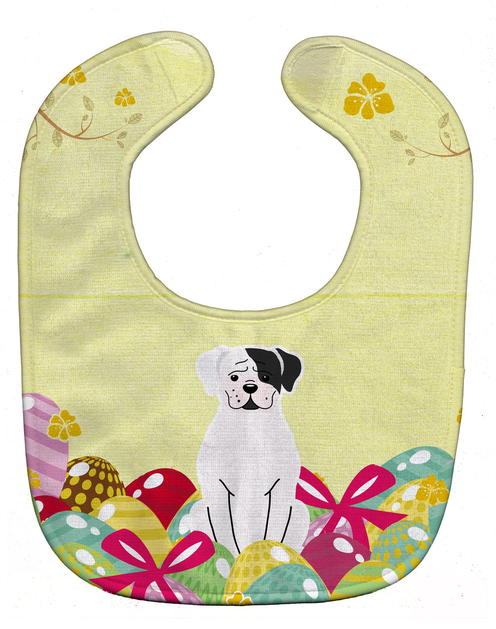 Buy this Easter Eggs White Boxer Cooper Baby Bib BB6114BIB