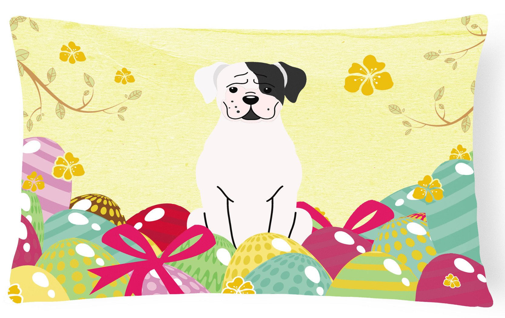 Easter Eggs White Boxer Cooper Canvas Fabric Decorative Pillow BB6114PW1216 by Caroline's Treasures
