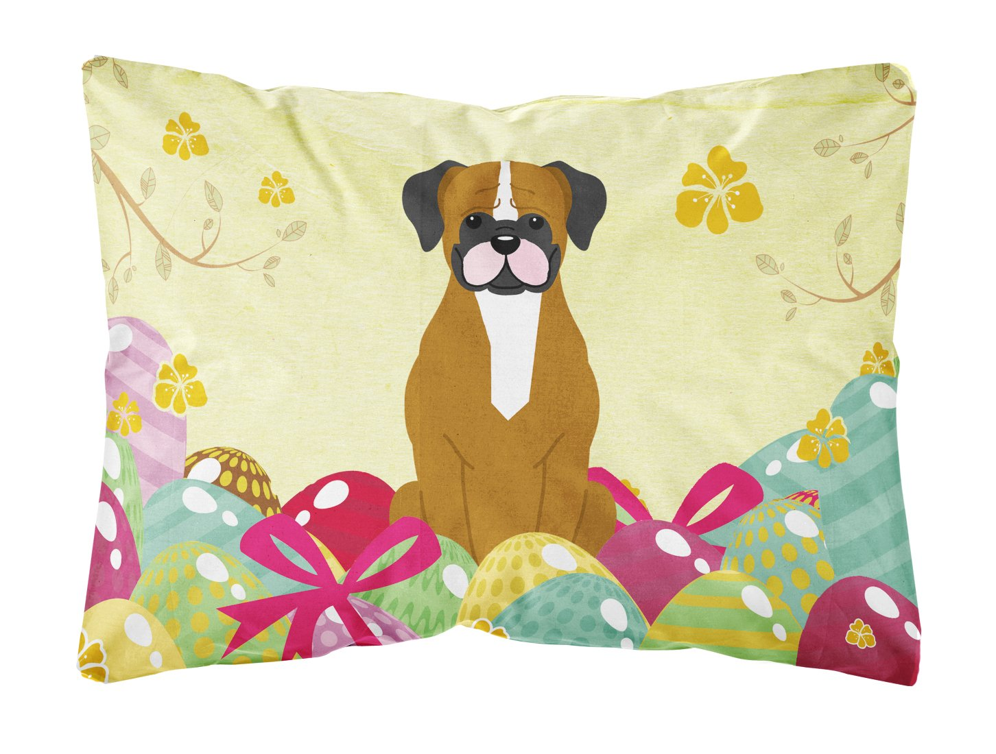 Buy this Easter Eggs Flashy Fawn Boxer Canvas Fabric Decorative Pillow BB6116PW1216
