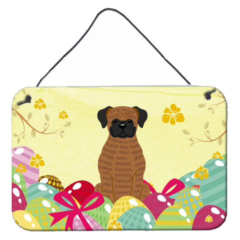 Buy this Easter Eggs Brindle Boxer Wall or Door Hanging Prints BB6117DS812