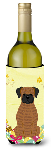 Buy this Easter Eggs Brindle Boxer Wine Bottle Beverge Insulator Hugger BB6117LITERK