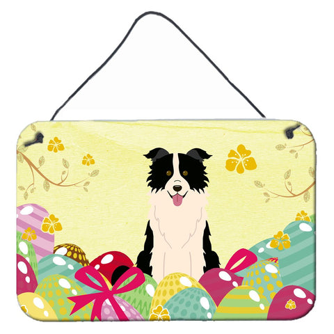 Buy this Easter Eggs Border Collie Black White Wall or Door Hanging Prints BB6118DS812