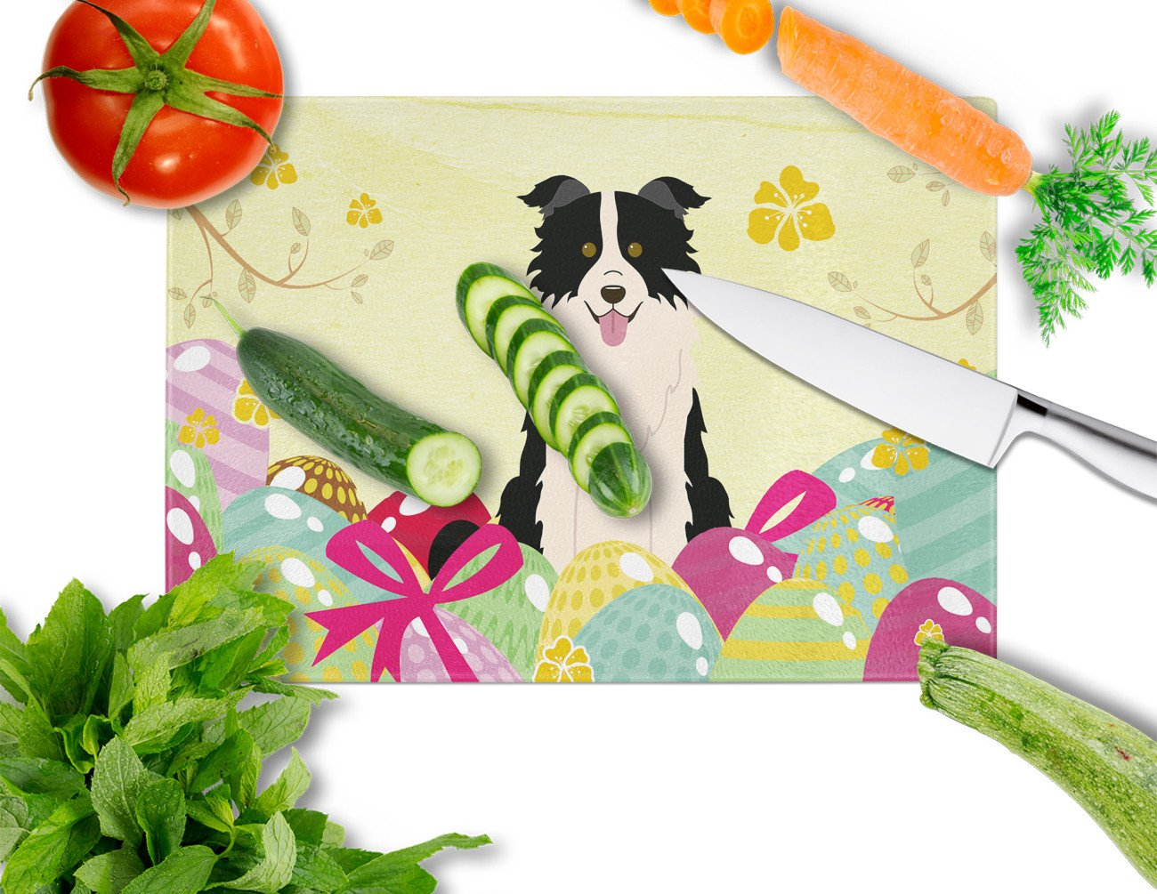 Easter Eggs Border Collie Black White Glass Cutting Board Large BB6118LCB by Caroline's Treasures