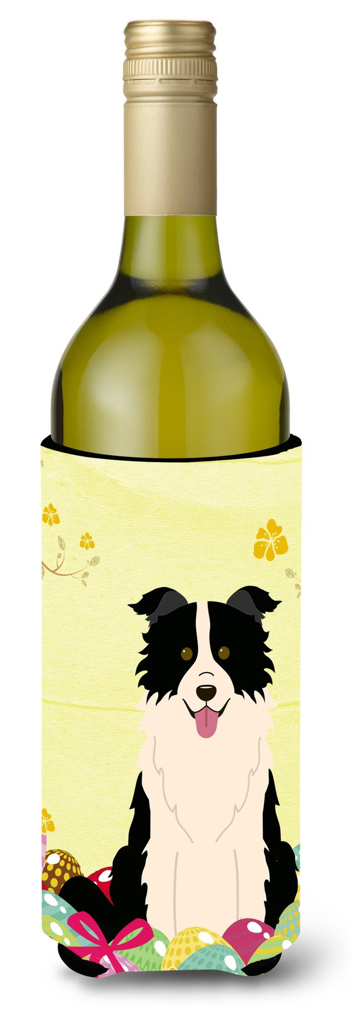 Easter Eggs Border Collie Black White Wine Bottle Beverge Insulator Hugger BB6118LITERK by Caroline's Treasures