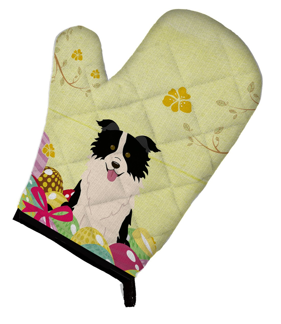 Easter Eggs Border Collie Black White Oven Mitt BB6118OVMT by Caroline's Treasures