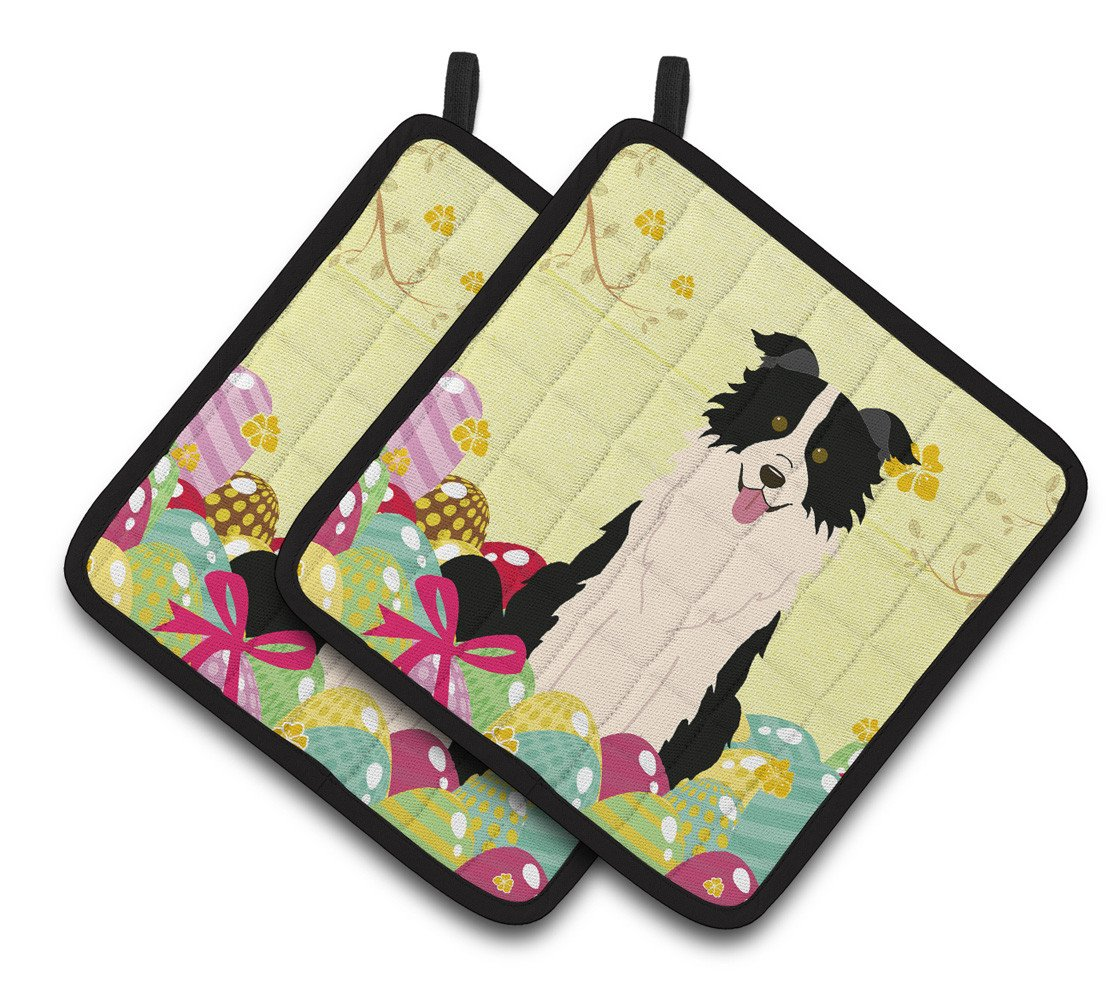 Easter Eggs Border Collie Black White Pair of Pot Holders BB6118PTHD by Caroline's Treasures