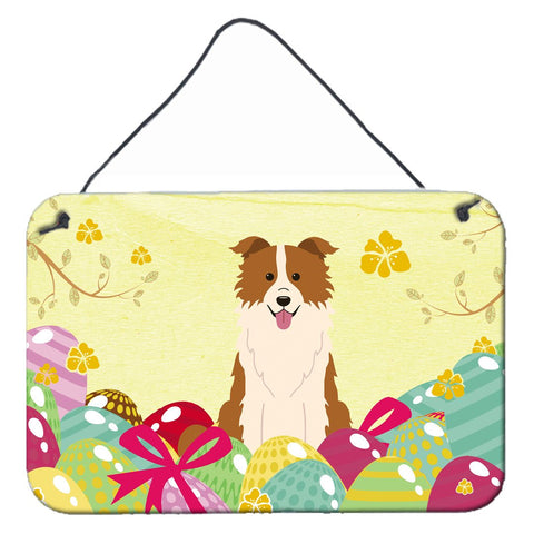 Buy this Easter Eggs Border Collie Red White Wall or Door Hanging Prints BB6119DS812