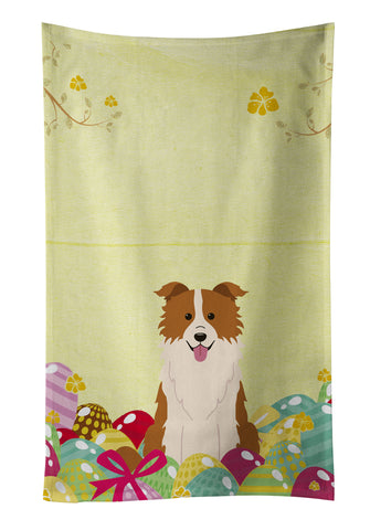 Buy this Easter Eggs Border Collie Red White Kitchen Towel BB6119KTWL