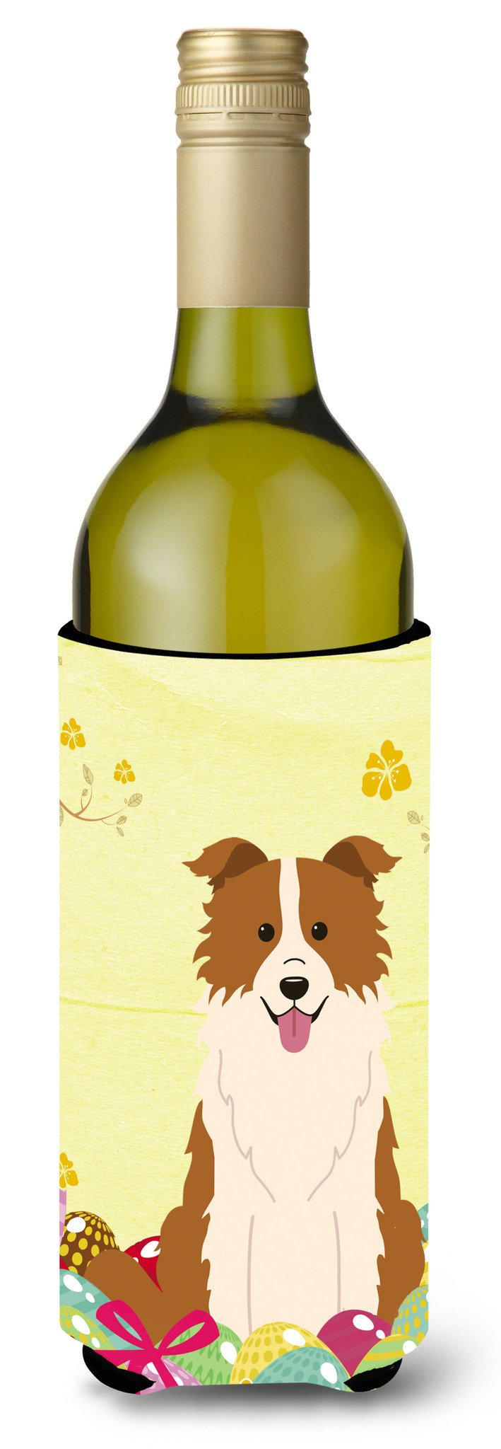 Easter Eggs Border Collie Red White Wine Bottle Beverge Insulator Hugger BB6119LITERK by Caroline's Treasures