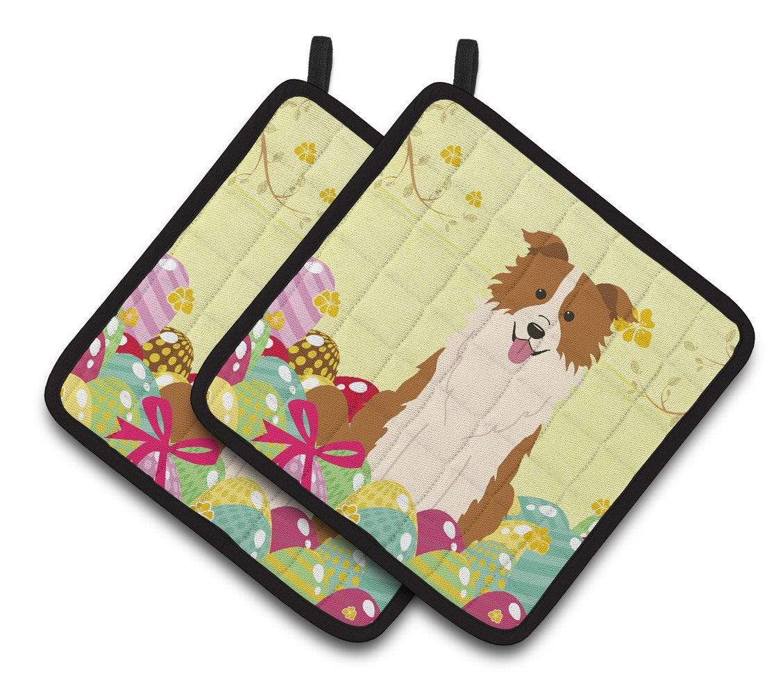 Easter Eggs Border Collie Red White Pair of Pot Holders BB6119PTHD by Caroline's Treasures