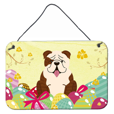 Buy this Easter Eggs English Bulldog Brindle White Wall or Door Hanging Prints BB6121DS812