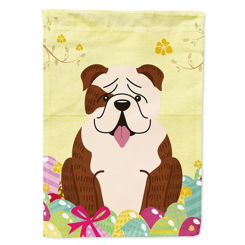 Buy this Easter Eggs English Bulldog Brindle White Flag Garden Size BB6121GF