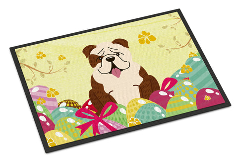 Buy this Easter Eggs English Bulldog Brindle White Indoor or Outdoor Mat 18x27 BB6121MAT