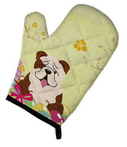 Buy this Easter Eggs English Bulldog Brindle White Oven Mitt BB6121OVMT