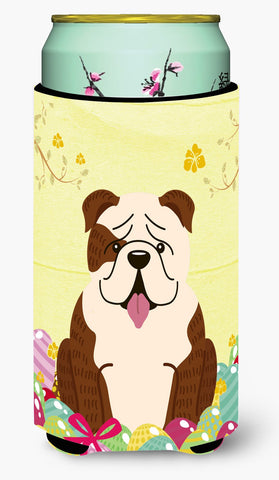 Buy this Easter Eggs English Bulldog Brindle White Tall Boy Beverage Insulator Hugger BB6121TBC