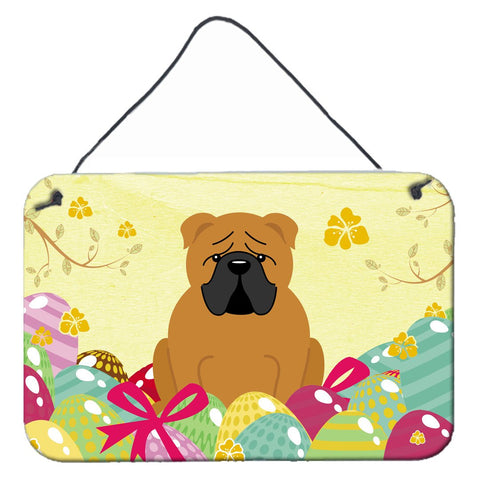 Buy this Easter Eggs English Bulldog Red Wall or Door Hanging Prints BB6122DS812