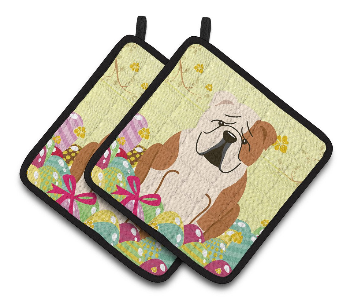 Easter Eggs English Bulldog Fawn White Pair of Pot Holders BB6125PTHD by Caroline's Treasures