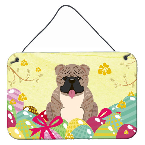 Buy this Easter Eggs English Bulldog Grey Brindle  Wall or Door Hanging Prints BB6126DS812