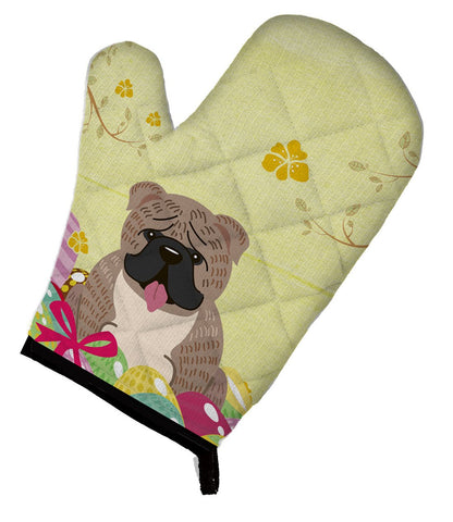 Buy this Easter Eggs English Bulldog Grey Brindle  Oven Mitt BB6126OVMT