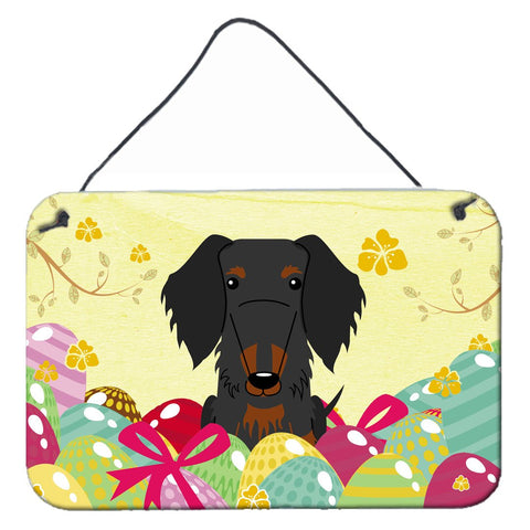 Buy this Easter Eggs Wire Haired Dachshund Black Tan Wall or Door Hanging Prints BB6127DS812