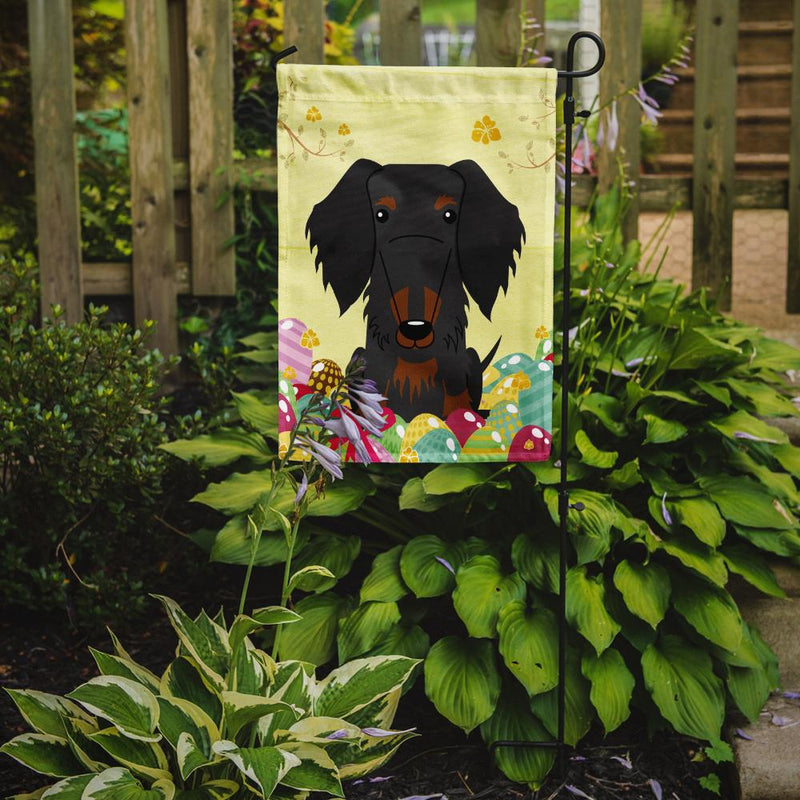 Buy this Easter Eggs Wire Haired Dachshund Black Tan Flag Garden Size BB6127GF