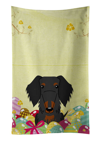 Buy this Easter Eggs Wire Haired Dachshund Black Tan Kitchen Towel BB6127KTWL