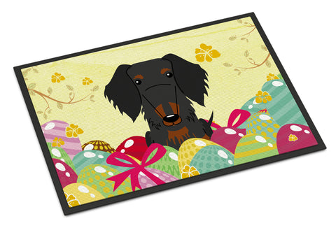 Buy this Easter Eggs Wire Haired Dachshund Black Tan Indoor or Outdoor Mat 18x27 BB6127MAT