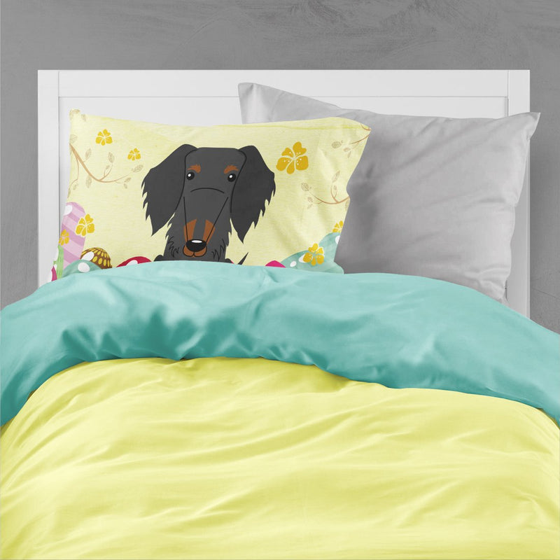 Buy this Easter Eggs Wire Haired Dachshund Black Tan Fabric Standard Pillowcase BB6127PILLOWCASE