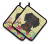 Easter Eggs Wire Haired Dachshund Black Tan Pair of Pot Holders BB6127PTHD by Caroline's Treasures