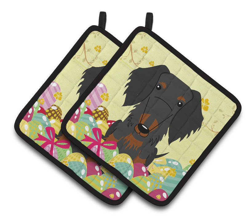 Buy this Easter Eggs Wire Haired Dachshund Black Tan Pair of Pot Holders BB6127PTHD