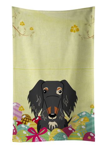 Buy this Easter Eggs Wire Haired Dachshund Dapple Kitchen Towel BB6128KTWL