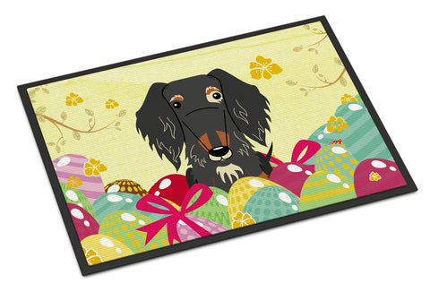 Buy this Easter Eggs Wire Haired Dachshund Dapple Indoor or Outdoor Mat 18x27 BB6128MAT