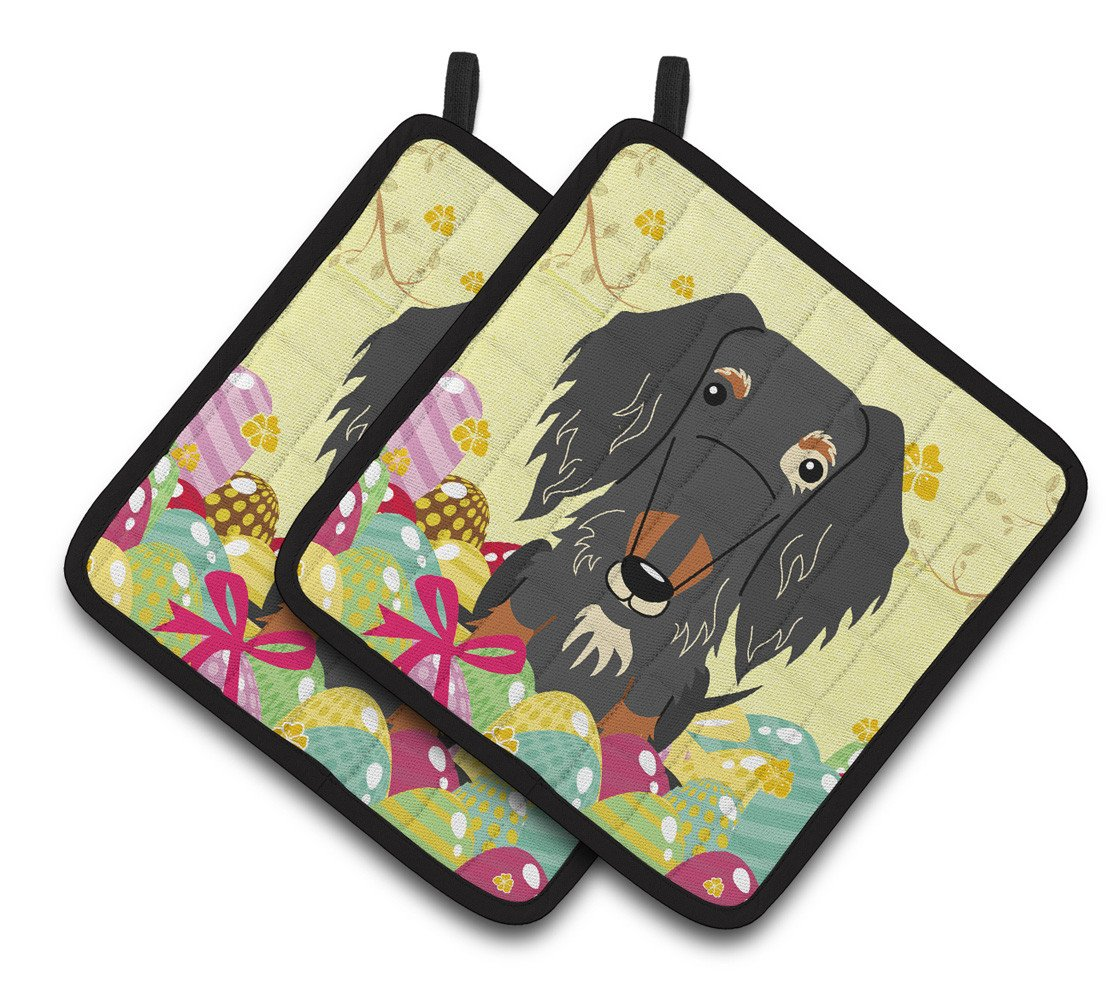 Buy this Easter Eggs Wire Haired Dachshund Dapple Pair of Pot Holders BB6128PTHD