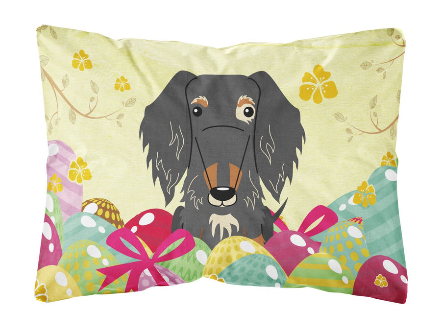 Buy this Easter Eggs Wire Haired Dachshund Dapple Canvas Fabric Decorative Pillow BB6128PW1216