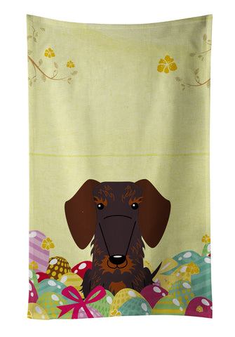 Buy this Easter Eggs Wire Haired Dachshund Chocolate Kitchen Towel BB6129KTWL