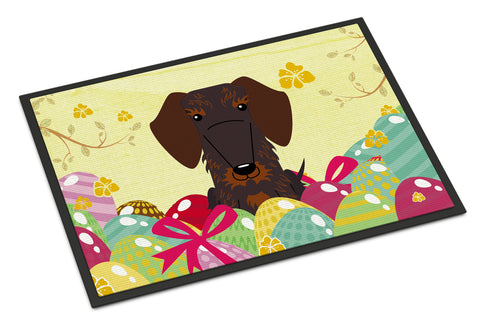 Buy this Easter Eggs Wire Haired Dachshund Chocolate Indoor or Outdoor Mat 18x27 BB6129MAT