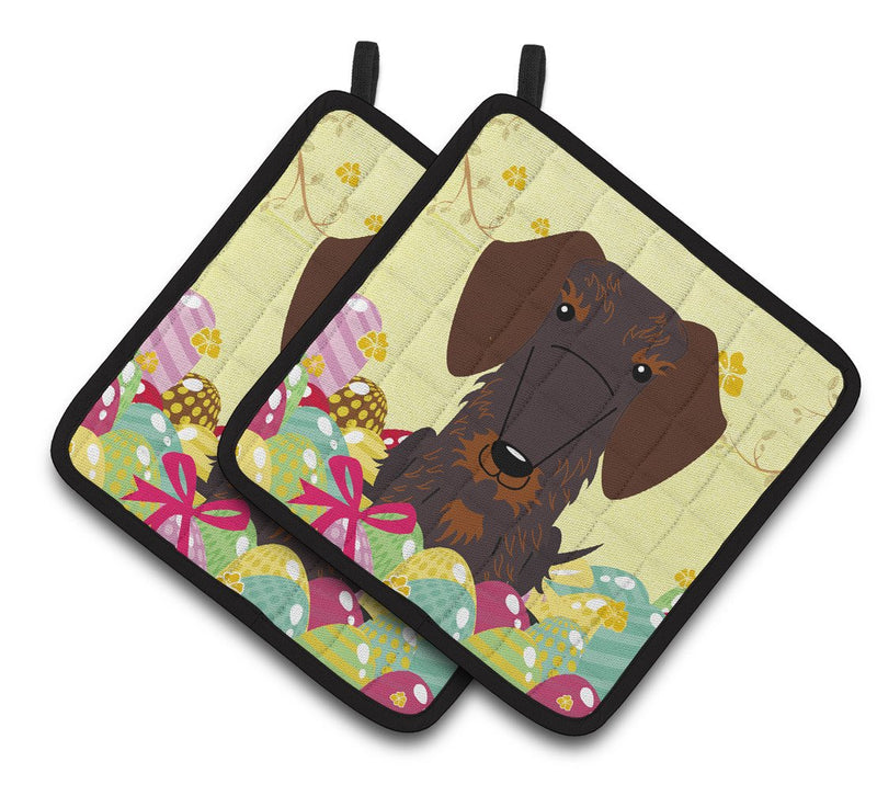Buy this Easter Eggs Wire Haired Dachshund Chocolate Pair of Pot Holders BB6129PTHD