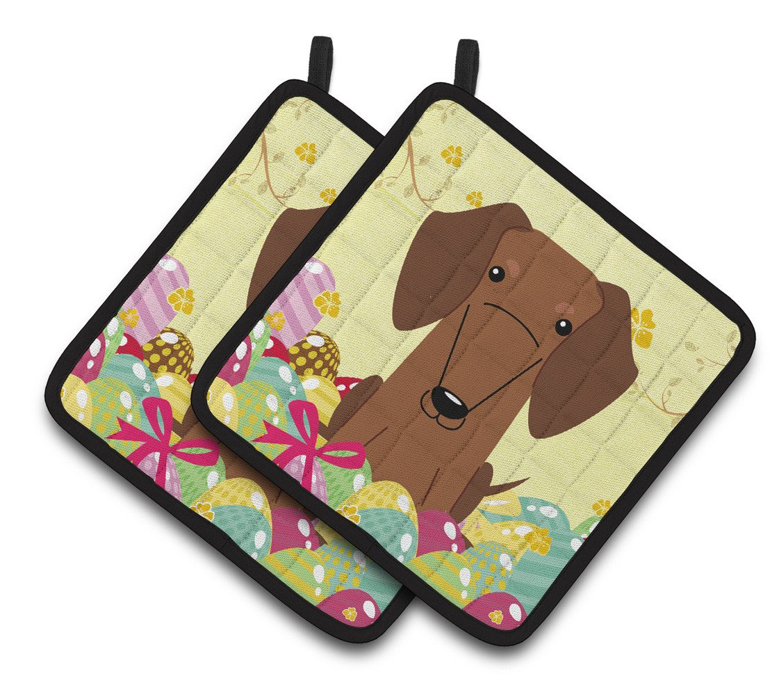Buy this Easter Eggs Dachshund Red Brown Pair of Pot Holders BB6130PTHD