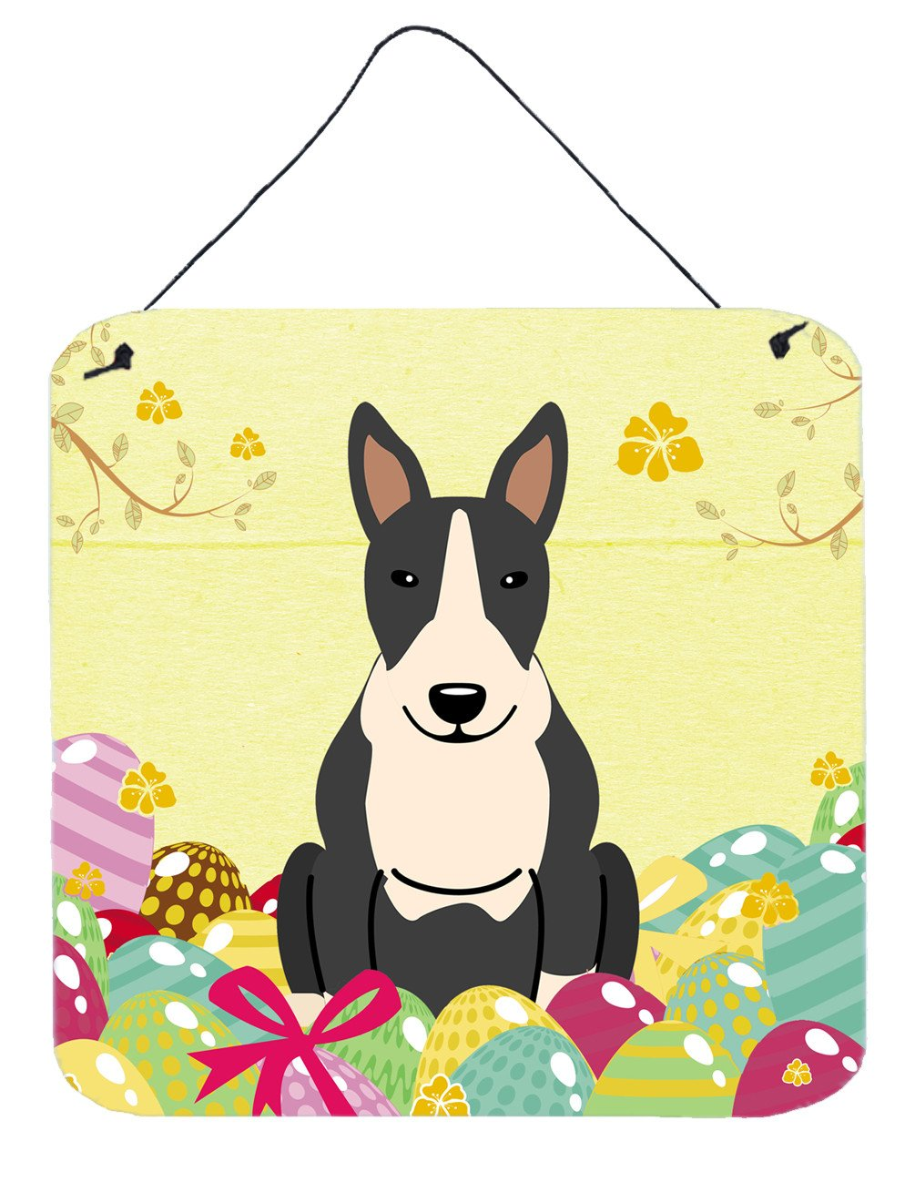 Buy this Easter Eggs Bull Terrier Black White Wall or Door Hanging Prints BB6133DS66