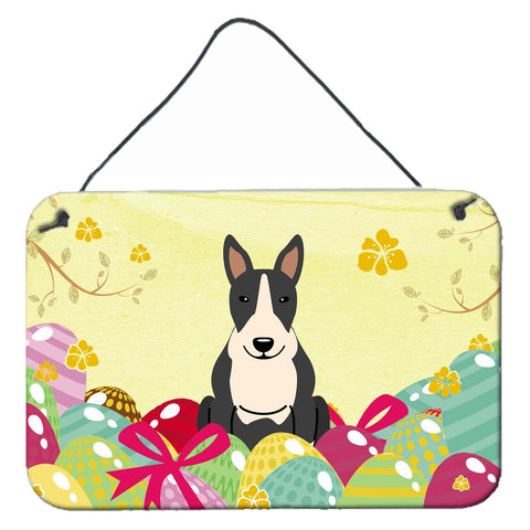 Buy this Easter Eggs Bull Terrier Black White Wall or Door Hanging Prints BB6133DS812
